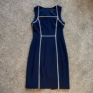 WHBM navy blue and white piped dress